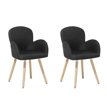 Beliani Conjunto de 2 sillas de Comedor Negras Brookville: Amazon.es ...