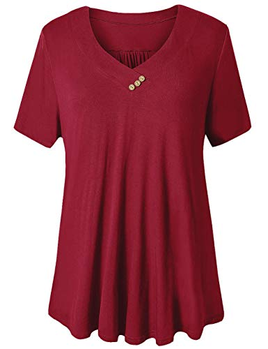 FOLUNSI Women's Plus Size Short Sleeve V Neck Swing Floral Tunic Tops (Wine Red, Large)