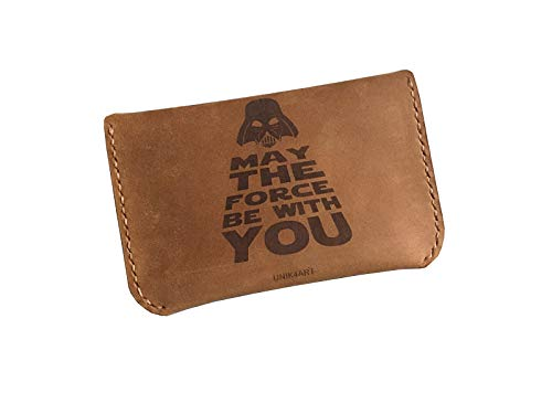 Unik4art - Genuine leather handmade minimalist business name card holder - May the force be with you - 1WA ()