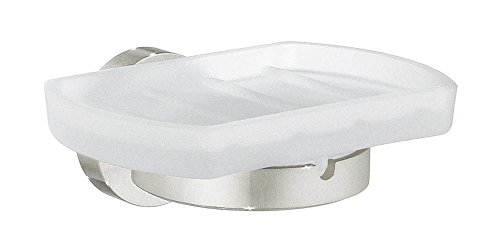 Smedbo H342N Holder with Frosted Glass Soap Dish, Brushed Nickel