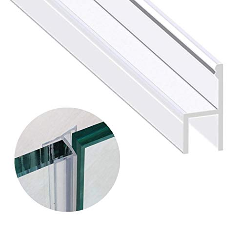 Zengest Glass Door Seal Strip, 120 Inch Frameless Shower Door Sweep to Stop Shower Leaks, Flexible Weatherproof Silicone Seal Strip for 3/8