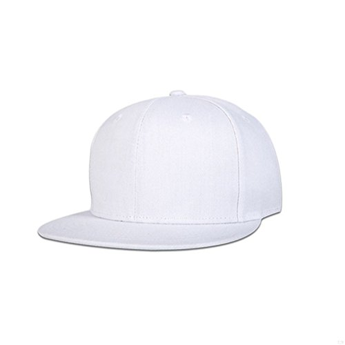 GADIEMENSS Stylish Flat Baseball Cap Bill Plain Snapback Hat Visor Adjustable Size Hip-hop Hat Variety of colors and designs(All White)