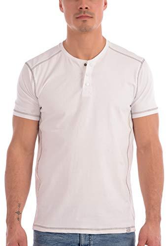 Projek Raw Men's Solid 3-Snap Collar T Shirt (White, - Cotton Liquid Mens