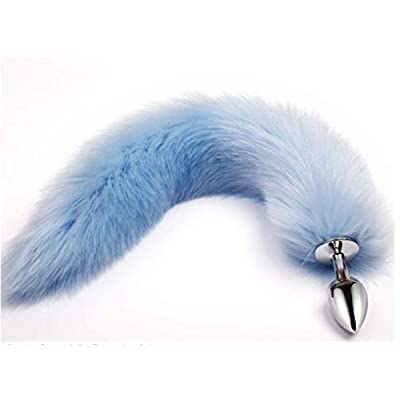 Blue Three Sizes Fluffy Faux Fox Tail & Cat Ears Headband Charms Role Play Costume Party Masquerade Cosplay Prop (Blue & Black, L): Toys & Games