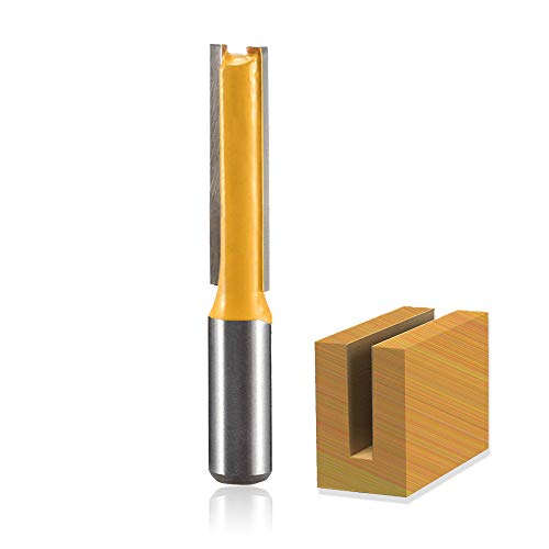 Saiper 1/2-Inch Shank Straight Bit, Double Flute Straight Router Bit with 1/2-Inch Diameter, 2 Inch Length Carbide Cutter