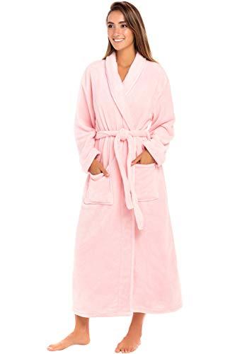 (Alexander Del Rossa Women's Plush Fleece Robe with Hood, Warm Bathrobe 3X 4X Pink Rose Quartz)
