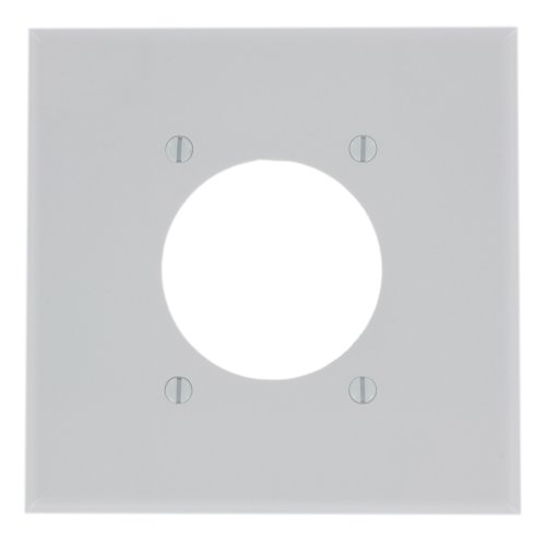 Leviton 80526-W 2-Gang Flush Mount 2.15-Inch Diameter, Device Receptacle Wallplate, Midway Size, ()