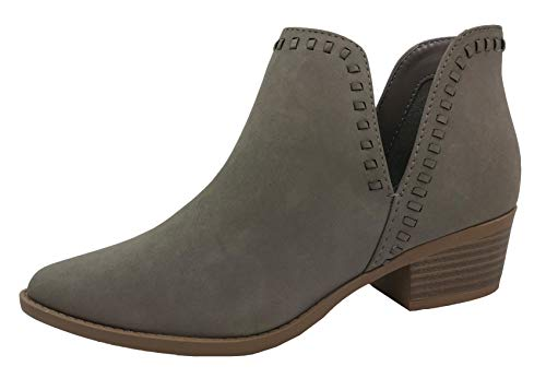 Women's Ankle Bootie Side V Whip Stitch Detail Cut Low Chunky Stacked Heel Grey