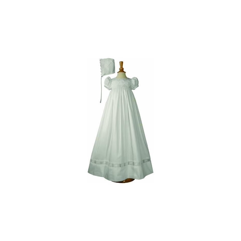 Baby Girls White Sateen Lace Bonnet Slip Christening Dress Set 3M 12M Little Things Mean A Lot Clothing