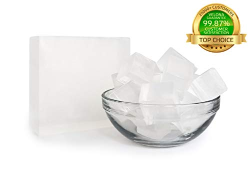 (100% Organic Ultra Clear TRANSPERENT Glycerin Soap Base by Velona | Melt & Pour All Natural Bar for The Best Result | Size: 10 lb)