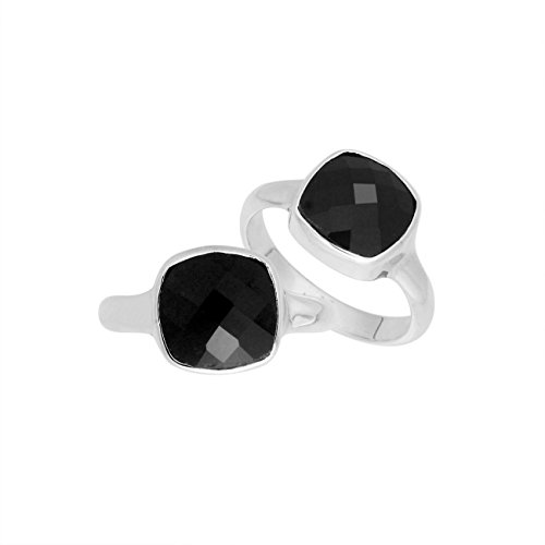- Sterling Silver Cushion Shape Ring With Black Onyx AR-6157-OX-7''