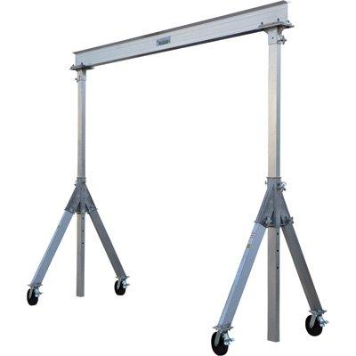 Vestil AHA-4-8-10 Aluminum Adjustable Gantry Crane, 4000 lb. Capacity, 8' Overall Beam, 96'' Usable Trolley Travel Distance, Under I-Beam Range 92''-120'', 130-1/8'' Height by Vestil