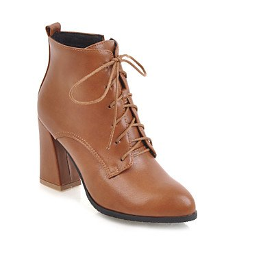 RTRY Women's Shoes Leatherette Fall Winter Fashion Boots Bootie Boots Chunky Heel Pointed Toe Booties/Ankle Boots Zipper Lace-up For Casual US8.5 / EU39 / UK6.5 / CN40 s8WsiYrB