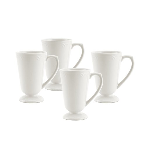 (Pfaltzgraff Filigree Footed Mug (14-Ounce, Set of 4), White)