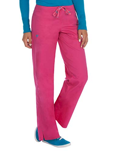 Med Couture Drawstring Signature Scrub Pants for Women, Azalea/Harbor Blue, Large Petite ()