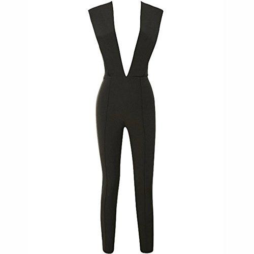 Sleeveless High Jumpsuit Deep neck Pants Waist Negro Hlbandage V Rayon Bandage 4xqtIZatwd