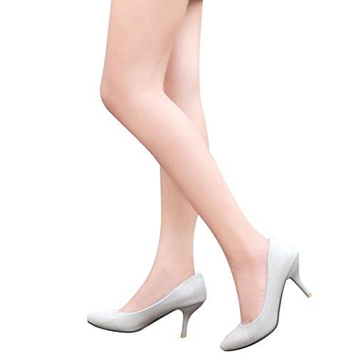 Damen Pumps Stiletto Mittelhoher Absatz Freizeitschuhe Hochzeitschuhe Arbeitsschuhe Spitze Grau