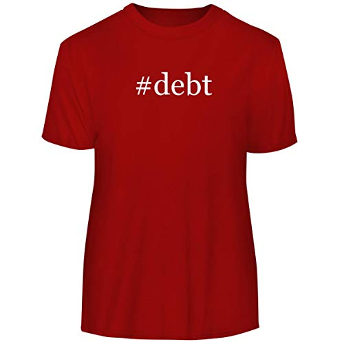 #Debt - Hashtag Men's Funny Soft Adult Tee T-Shirt, Red, Medium (Debt Consolidation Loan To Pay Off Credit Cards)