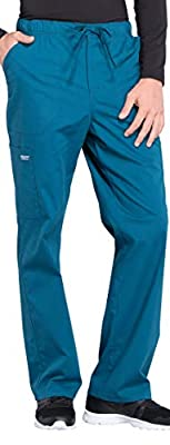 Cherokee Workwear Professionals Men's 4 Pocket V-Neck Top WW695 & Drawstring Cargo Pant WW190 Scrub Set