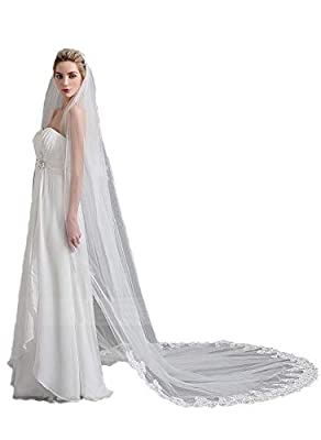 Passat 1T French Lace With Swarovski Rhinestone Cathedral Wedding Veils With Crystal H16