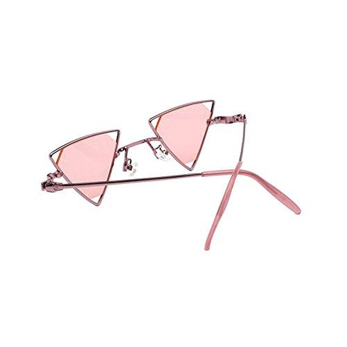 Eyewear Triangle Miroité Soleil Unisexe Sunglasses Rétro Lunettes Rose De Uv400 Métallique Polarisées Meijunter vgFqw1PxF