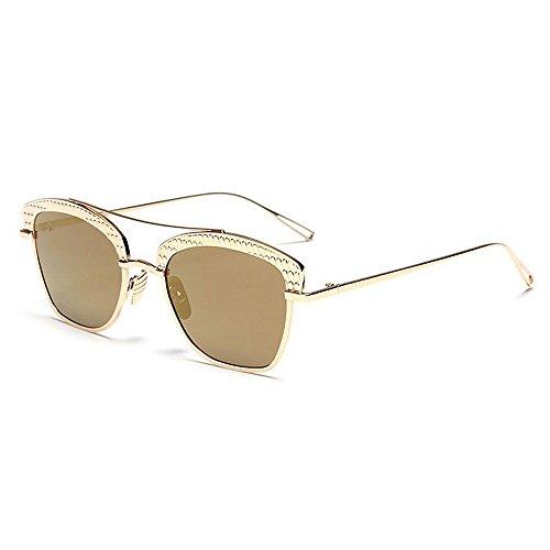 De Azul protección Personalidad Mujeres lente Gafas conducción de Las coloreada De montura de sol mujeres aire al Demasiado metal gafas viaja sin que marco para Grande semi UV Chicas C4 Sol libre Rosado Fwfxq5t7