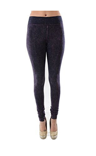 T Party Regular Size Fit Mineral Washed Foldover Leggings CJ72251,X-Large,Purple - Purple Acid Wash