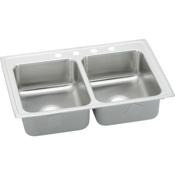 Double Self Hole Bowl Rimming (Elkay LRAD2918453 3-Hole Gourmet Lustertone 29-Inch x 18-Inch Self Rimming Double Basin Stainless Steel Kitchen Sink)