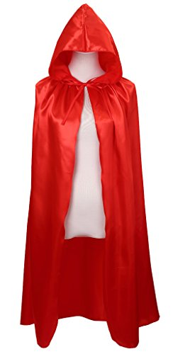 Meeyou Deluxe Satin Cloak, Hooded Cape for Boys & Girls Halloween Costume( 40 inches,Red)