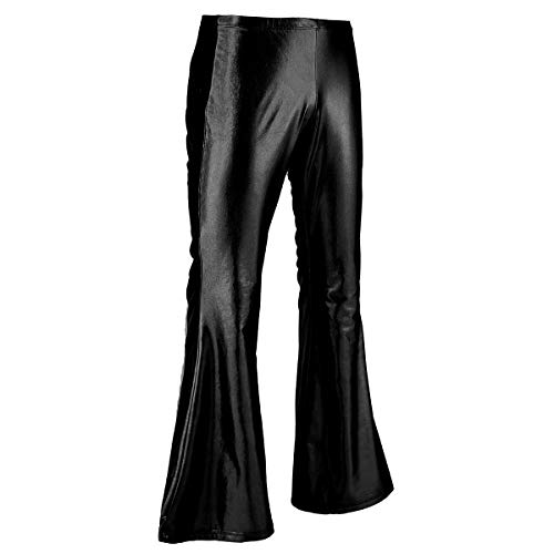 iEFiEL Adult Men's Shiny Metallic 70's Disco Dude Pants Leisure Long Pants Flared Bell Bottom Trousers Costume Black Medium -