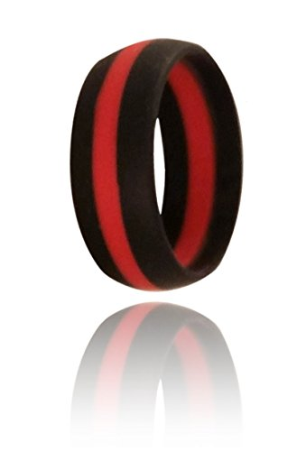 Emporium by Jane Katherine Mens Silicone Wedding Band Ring   Hypoallergenic   Waterproof   Medical Grade Silicone   Athletes, Laborers, Crossfit, Firefighters, Etc. (black/red/black, 9)