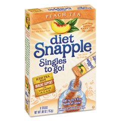 Iced Tea Singles To-Go, Diet Peach Tea, 0.68 oz Stick, 6/Box