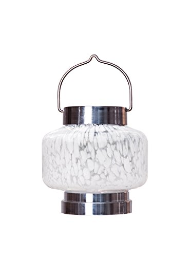 Allsop Home and Garden Solar Boaters Lantern Square, Handblown Glass with Solar Panel and LED Light, Weather-Resistant for Outdoor Deck, Patio, Garden, Square/White, 1-Count