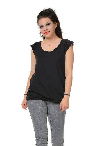 Summer Black Gothic Cuello Redondo Top Mujer Camiseta Encaje 3elfen Y7zgW