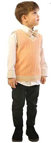 Price comparison product image Ray's Sweater Vest Plus a Bow Tie For Boys / Slim Fit - 100% Soft Cotton Fabric (5,  Orange)