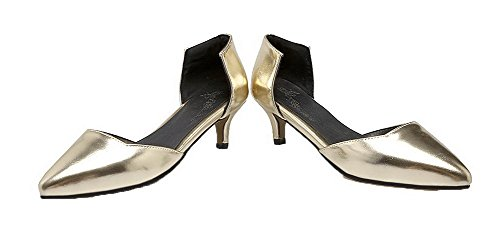 Odomolor Solid Women's Pumps Kitten Gold heels shoes Pu vwvnZqr