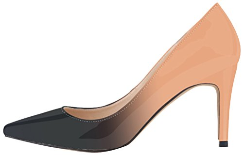 CFP YSE-952-1JBS Womens Classic Pointy Toe Office Shoes Gradational Colour Cozy Lissom Pointy Toe Pump Prevalent Prom Wedding Court Shoes Comfy Stiletto Shallow Mouth Vogue Beige ySIb45