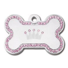 DIVA Crown Jewel Collection Swarovski LARGE Bone Shape Personalized Custom Engraved Pet ID Tags! (Chrome- Crown & Pink Crystals)