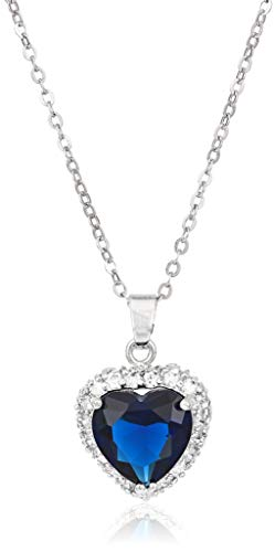 (Heart Pendant Necklace with Blue Simulated Sapphire Zirconia Crystals 18K White Gold Plated Heart Necklace for Women 18