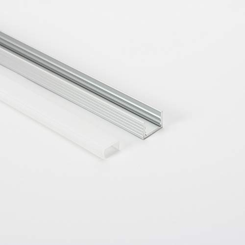 U Shape LED Aluminum Flush Mount Channel with Diffuser, End Caps and Mounting Clips Aluminum Profile for LED Strip Light, Led Lights Diffuser Code A1913 (6.6ft-2mt)-10mt ((6.6Ft-2Mt) 5 Pack)