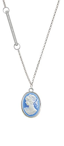 Oval - Blue Cameo - Nevertheless She Persisted Delicate Bar Necklace