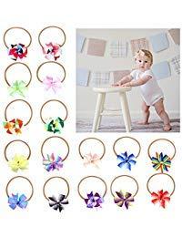 Cinta elástica para la cabeza de bebé para niña, xeababababy 16 piezas de 3,5' suave elástico arco iris lazo diadema de...