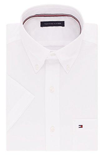 "Tommy Hilfiger Men's Short Sleeve Button-Down Shirt, White, 15.5"" Neck (Medium)"