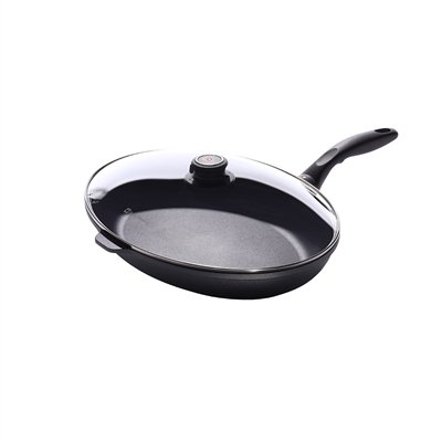 - Swiss Diamond HD Classic Nonstick Oval Fish Pan with Lid- 10.25