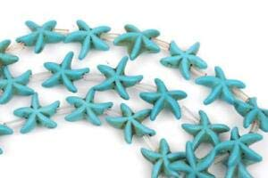 14mm Turquoise Blue Starfish Beads, howlite Beads, Full Strand, 26 Beads how0474 Crafting Key Chain Bracelet Necklace Jewelry Accessories Pendants