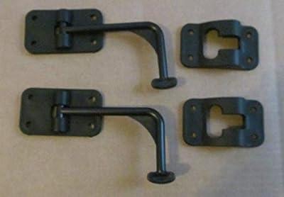 RV Black Cargo Entry Door Catch Holder Hook Latch 90 Degree Style 2 Sets