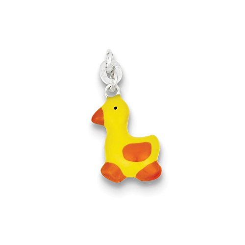 Enameled Duck Charm (Sterling Silver Enameled Duck Charm (24 x 11mm))