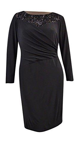 Lauren Ralph Lauren Women's Sequin Top Long Sleeve Dress (20W, Black) by Lauren by Ralph Lauren