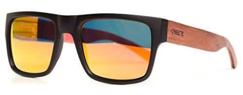 The Cassette Company Stockholm Maple Skatedeck/Fire Mirror Polarized Lens, Matte Black & - Cassette Sunglasses
