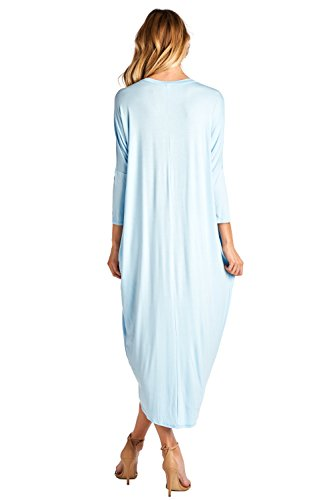 Solid USA Long Blue Sleeve S Cover 12 Up Ami in Dress Maxi Made 2X Light 47qW5